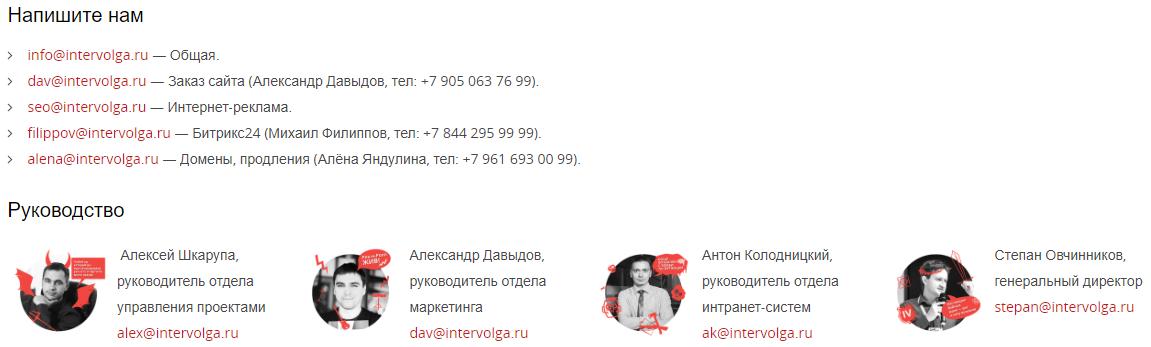Контакты руководителей отделов